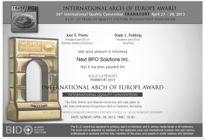 The B.I.D. International Arch of Europe Award for Quality and Technology in the GOLD Category